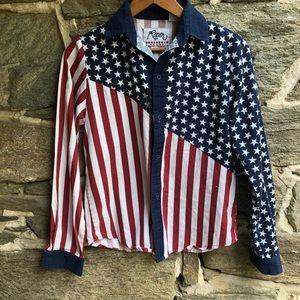 Roper American Flag Button Down Shirt